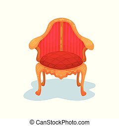 Flat vector icon of antique wooden chair with bright red velvet trim. Luxury royal furniture. Museum exhibit