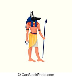 Flat vector icon of Anubis - ancient God of Egypt. Man with...