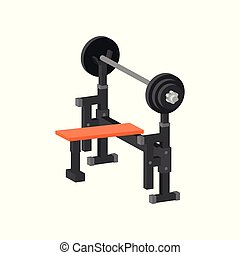 Flat vector icon of bench press machine. Gym equipment for bodybuilding and weightlifting exercises. Sport and healthy lifestyle theme