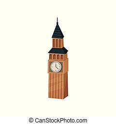 Flat vector icon of Big Ben. British tower with clock. Popular tourist attraction in London. Famous world landmark