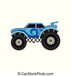 Flat vector icon of big monster truck. Blue car with large tires, spoiler and black tinted windows. Automobile theme