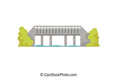 Flat vector icon of big stone bridge, blue water and green bushes. Walkway across the river. Construction for transportation