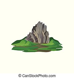 Flat vector icon of big stony mountain surrounded with...