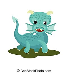 Flat vector icon of blue baby dragon with small wings, horns and long tail. Mythical creature with cute muzzle