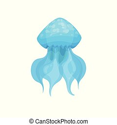 Flat vector icon of bright blue jellyfish. Marine creature. Sea animal. Underwater world theme. Element for print or mobile game