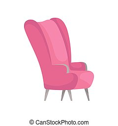 Flat vector icon of bright pink armchair, side view. Stylish furniture for living room. Comfortable soft chair