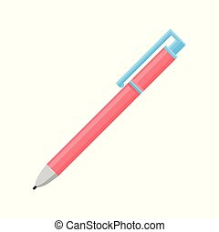 Flat vector icon of bright pink retractable ballpoint pen. Equipment for writing and drawing. School or office supply theme