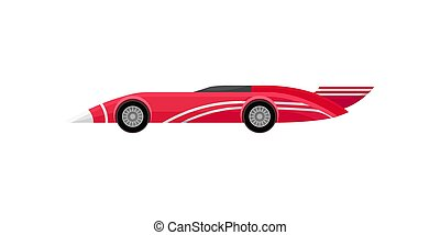 Flat vector icon of bright red racing car with stripes and spoiler. Vintage sports automobile. Autosport theme