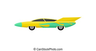 Flat vector icon of bright yellow racing car with green wrap decal, side view. Fast sports vehicle with tinted windows and spoiler