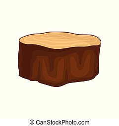 Flat vector icon of brown dry tree stump with annual growth rings. Natural material. Forest element