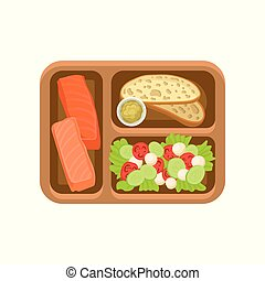 Flat vector icon of brown tray with tasty food. Salmon fish, bread with sauce and fresh vegetable salad. Delicious meal for lunch