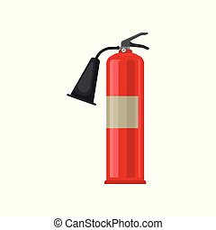 Flat vector icon of carbon dioxide CO2 fire extinguisher. Red steel cylinder with compressed gas. Flame prevention tool