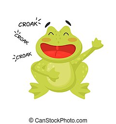 Flat vector icon of cheerful croaking frog. Funny green toad. Cartoon character of amphibian animal