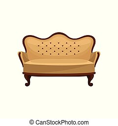 Flat vector icon of classic vintage couch. Wooden sofa with beige trim. Interior object. Luxury antique furniture for living room