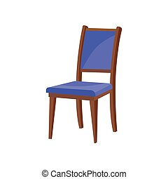Flat vector icon of classic wooden chair with backrest and soft blue upholstery. Furniture for dining room