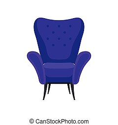Flat vector icon of cozy purple armchair, front view. Comfortable soft chair for living room. Modern furniture