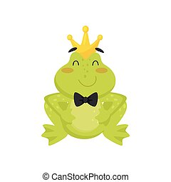 Flat vector icon of cute frog with golden crown on head and black tie bow on neck. Green toad with pink cheeks