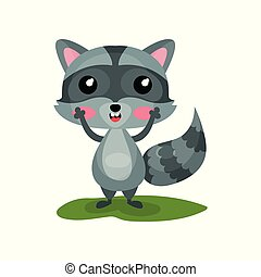 Flat vector icon of cute raccoon with excited face expression. Adorable forest animal with shiny eyes, pink cheeks and striped tail