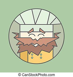 Flat vector icon of cute smiling chef from triangles with...