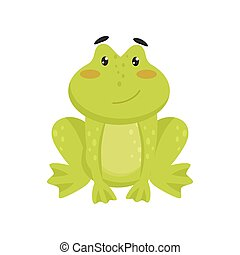 Flat vector icon of cute smiling frog. Cartoon character of funny green toad with pink cheeks and shiny eyes