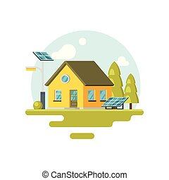 Flat vector icon of cute yellow eco house with solar panels and trees near by. Alternative energy. Family home