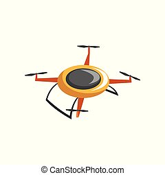 Flat vector icon of electric quadrocopter. Radio controlled drone with four rotor blades. Unmanned aerial device. Modern technology