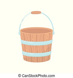 Flat vector icon of empty wooden bucket for garden. Small water pail with metal handle and hoops