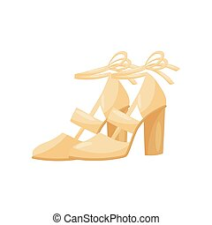 Flat vector icon of fashionable women sandals on high heels, side view. Female shoes with ribbons. Trendy footwear
