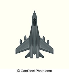 Flat vector icon of fast military aircraft. Air force fighter. Gray jet with powerful engines. Element for mobile game or poster