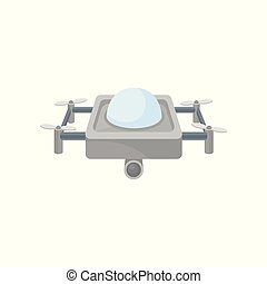 Flat vector icon of flying drone. Unmanned aerial device with four rotor blades and camera. Remote controlled quadrocopter