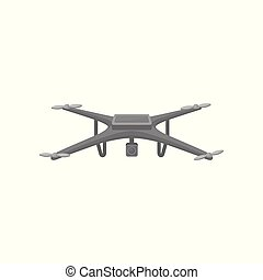 Flat vector icon of flying quadcopter. Dark gray drone with four rotor blades and action camera