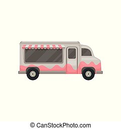 Flat vector icon of food truck. Small gray van with awning. Cafe on wheels. Graphic design for promo poster