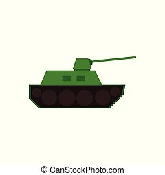 Flat vector icon of green toy tank, armored vehicle