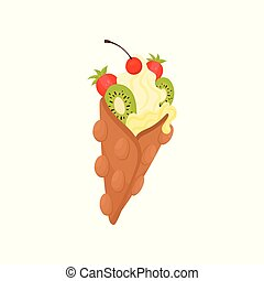 Flat vector icon of Hong Kong waffle with ice-cream. Delicious dessert decorated with ripe strawberry, kiwi and red cherry
