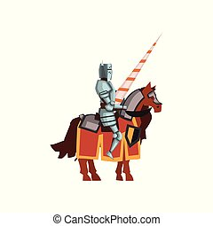 Flat vector icon of knight from the Middle Ages sitting on horseback with lance in hand. Cartoon character of brave warrior in steel armor