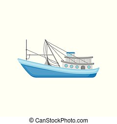 Flat vector icon of large commercial fishing boat with trawling equipment. Blue marine vessel for industrial seafood production