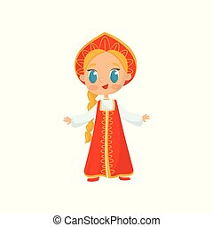Flat vector icon of little girl with long braid wearing national Russian costume. Child in red folk dress and traditional headdress