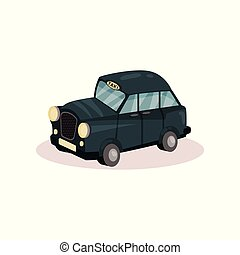 Flat vector icon of London taxi. Classic black cab. Famous public transport in England. Graphic design for poster or book