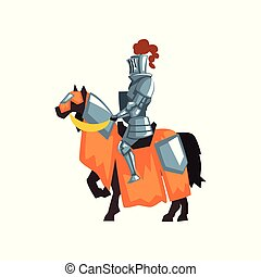 Flat vector icon of medieval knight on horseback. Guardian of the kingdom. Royal warrior wearing shiny iron armor and helmet with feather