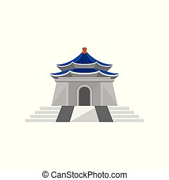 Flat vector icon of Memorial Hall. National monument. Famous...