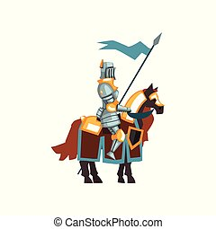 Flat vector icon of middle ages knight sitting on horseback and holding blue flag in hand. Guardian of the kingdom. Cartoon valiant warrior