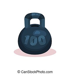 Flat vector icon of money box in form of black kettlebell weight with hole on top. Container for saving coins and