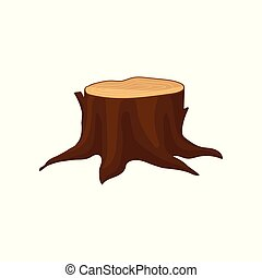 Flat vector icon of old brown tree stump with annual growth rings and big roots. Natural forest element