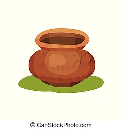 Flat vector icon of old pottery jug on green grass. Clay pot with ornament and crack. Ceramic crockery. Stone Age theme