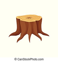 Flat vector icon of old tree stump with annual growth rings and roots. Wood production industry