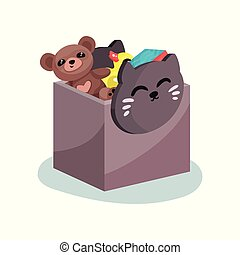 Flat vector icon of plastic box with cat face full of children toys. Brown teddy bear, yellow rubber duck and colorful cube