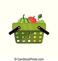 Flat vector icon of plastic shopping basket with fresh fruits. Ripe watermelon and apples. Natural and healthy food