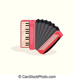 Flat vector icon of red accordion. Portable musical instrument with black and white keys. Element for advertising poster or banner