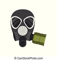 Flat vector icon of respirator for firefighters or military. Protective equipment. Gas mask with filter for personal safety