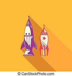 Flat vector icon of rocket